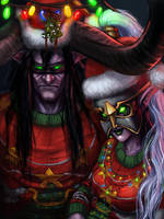 Gaudy Winter Veil Sweaters Illidan and Maiev by LadyofJustice