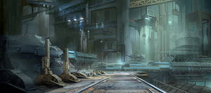 Environment concept art - Industrial building 2 by derrickSong