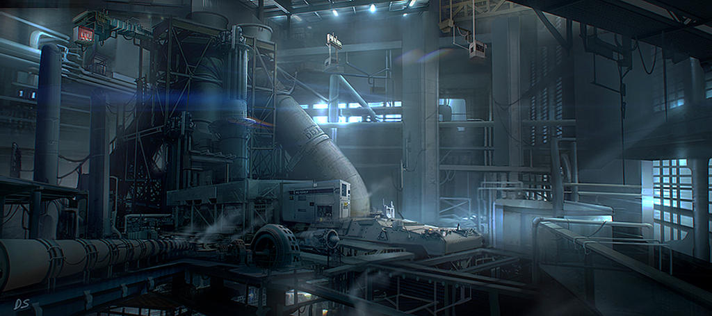 Environment concept art - Power Station by derrickSong