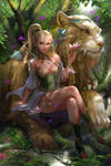 Elf forest with beast