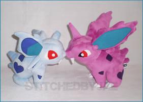 Pokemon: Nidoran Plush Set by sugarstitch