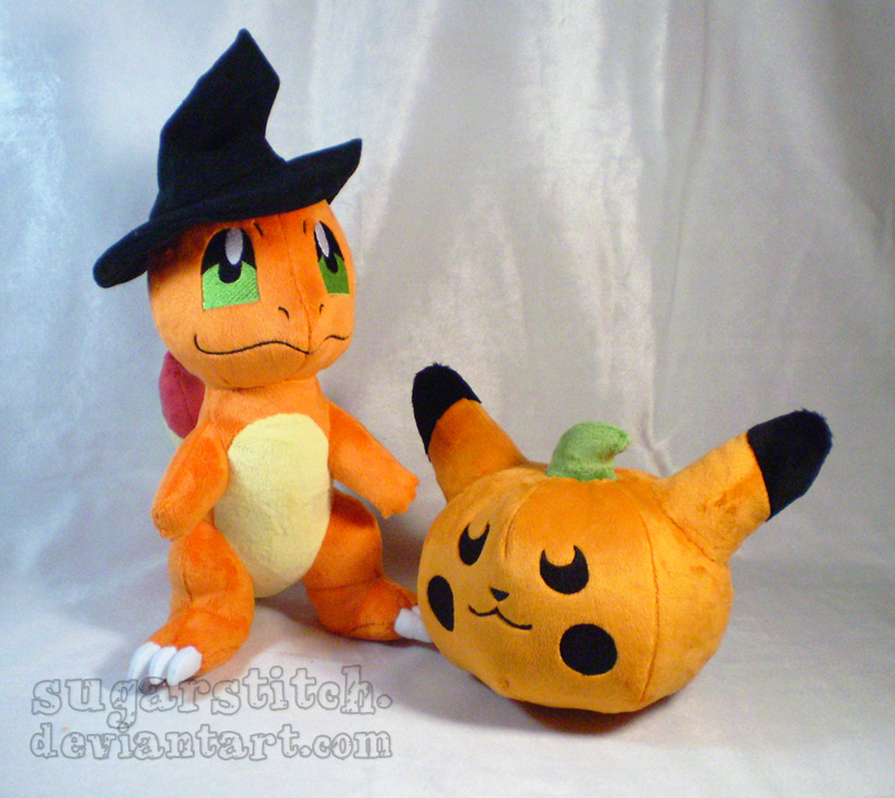 Pokemon: Halloween Charmander with Pikachu Pumpkin by sugarstitch