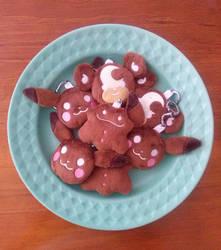 Pokemon: Gingerbread Cookie Plush Keychains by sugarstitch