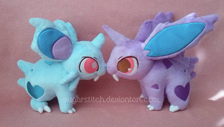 Pokemon: Nidoran Pair Plush by sugarstitch