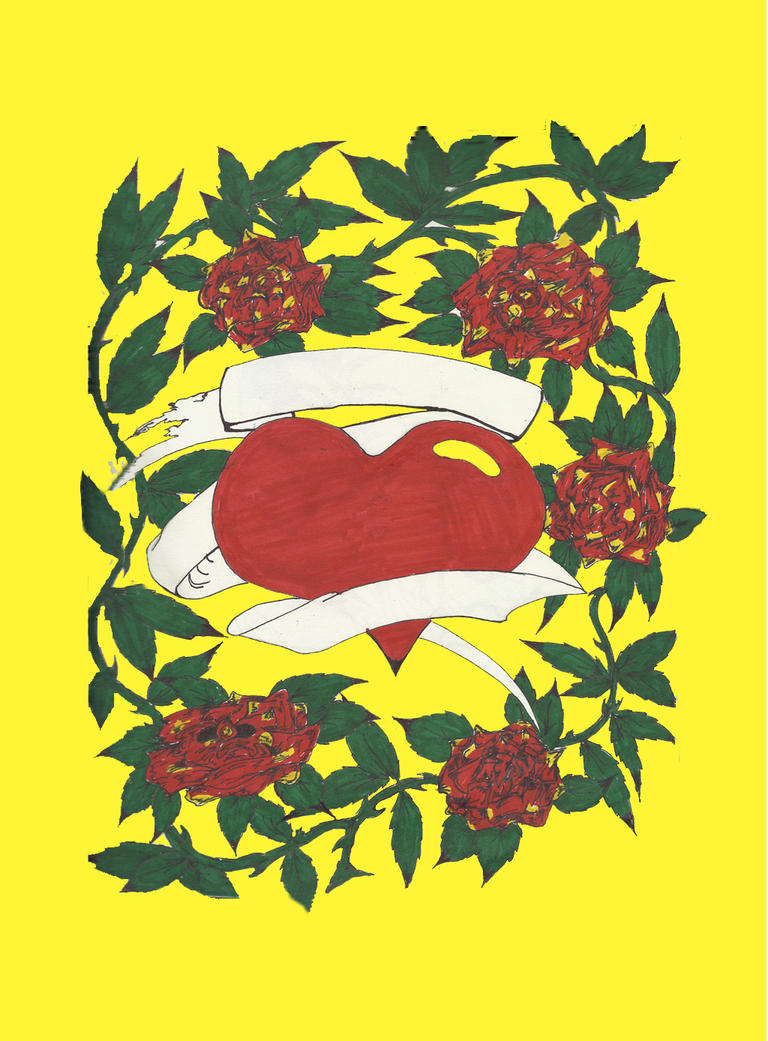 Heart With Rose And Banner: Heart-Rose W/Banner By DaveErving On DeviantART
