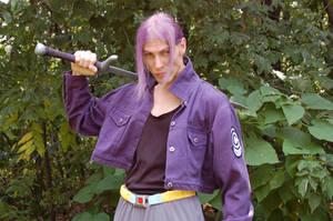 Future Trunks cosplay - sword over shoulder