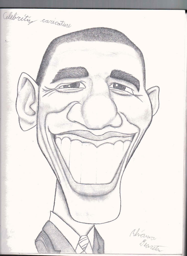 Obama caricature (pencil) by Pupster0071 on DeviantArt