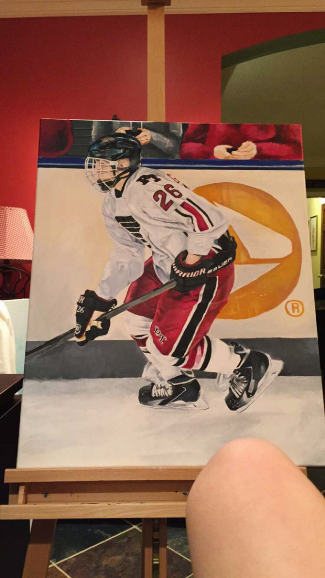 Hockey player painting by noraslade