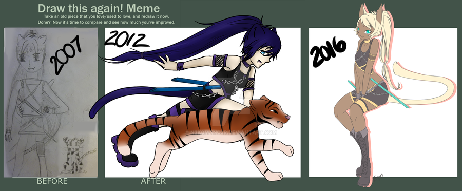 Draw This Again Meme Cat Warrior By N3k0manc3r On Deviantart