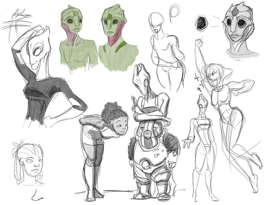 Line Art Effect : Some mass effect sketches by evilsherbear on deviantart