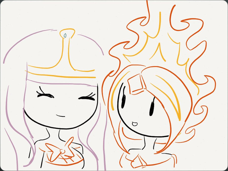 Flame Princess And Bubblegum By OreosHaveHearsToo