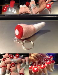 Youmacon 2013 - Slowpoke Tail Keychains by gabiemiller