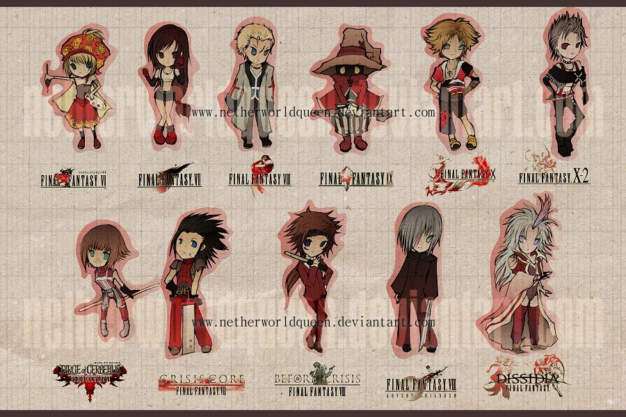 Final Fantasy chibis by NetherworldQueen