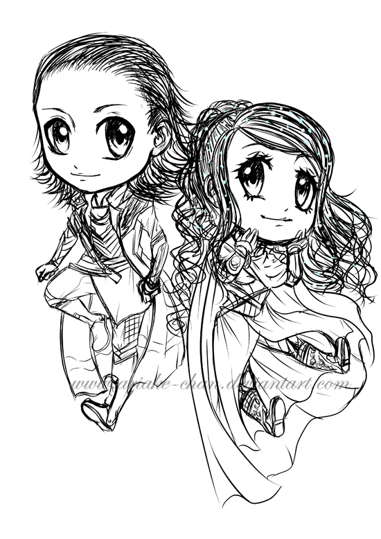 Chibi Loki And Aria - Sketch - by Ariake-chan