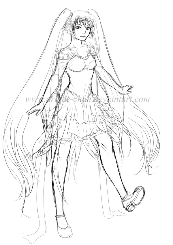 Miku Hatsune Outfit Design Sketch by Ariake-chan