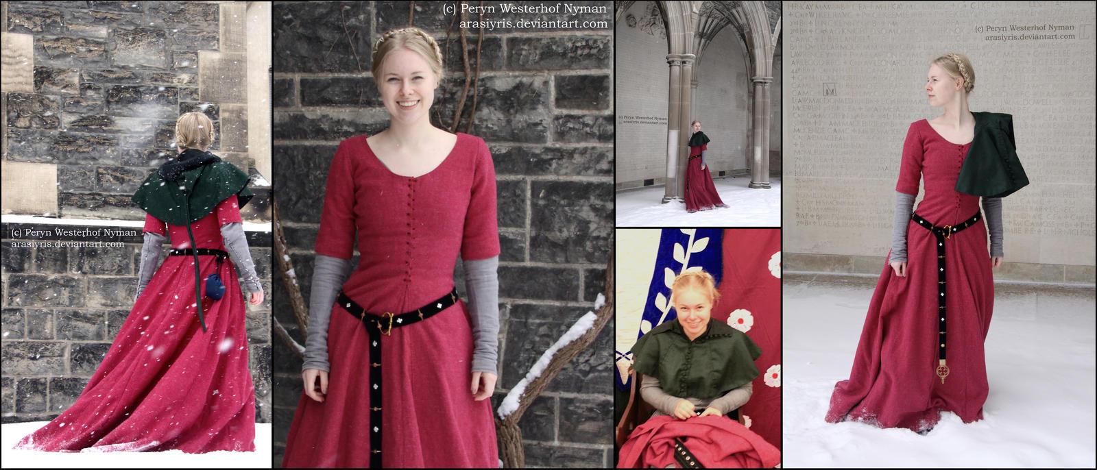 Raspberry Wool Cotehardie and Green Hood - Collage by Arasiyris