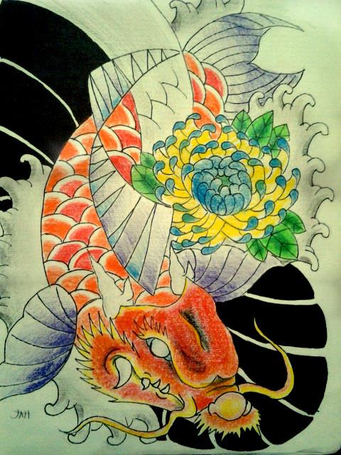 Japanese dragon koi by jessicore666 on deviantart for Japanese koi dragon