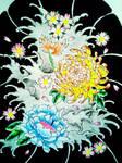 Japanese flower half sleeve re designed by jessicore666