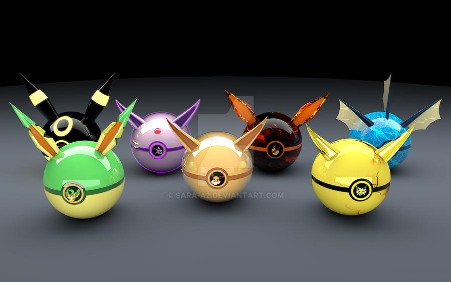 Eevee's evolutions pokeballs by Sara-A2