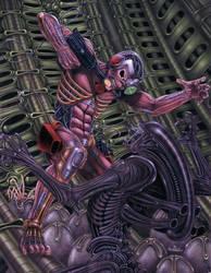 Eddie vs aliens by tiamatnightmare