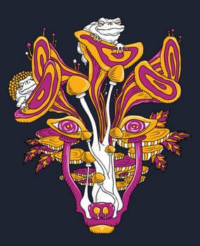 Psychedelic mushroom wolf