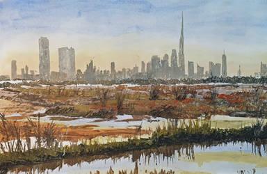 Dubai Skyline from wildlife reserve- Palette Knife