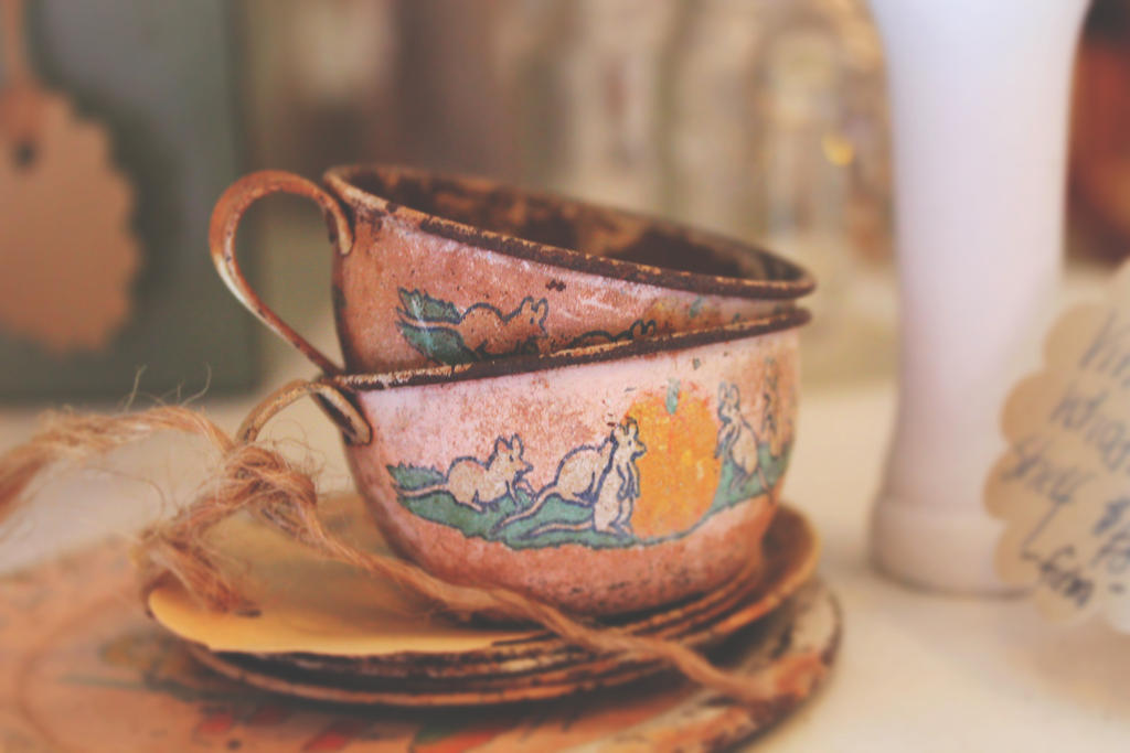 Vintage Tea Cups by hourglass-paperboats