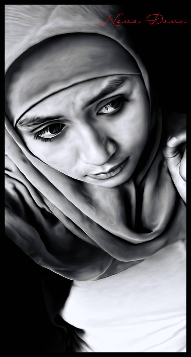 Black white smudgepaint hijab girl by nova dave67zx