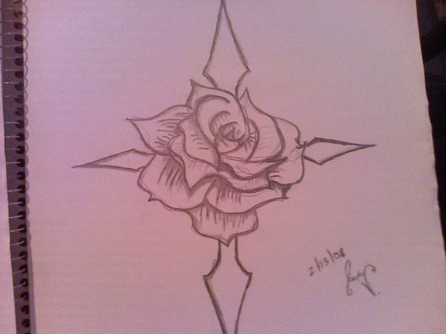 how to draw a cross with a rose