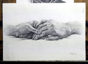 Hands study - pencil drawing by Hanulsora
