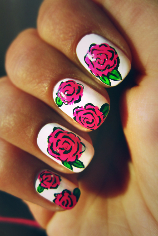 Nail design roses : Rose nails by n nnnu on deviantart
