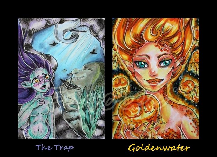 Mermaid ACEOs by Favolee