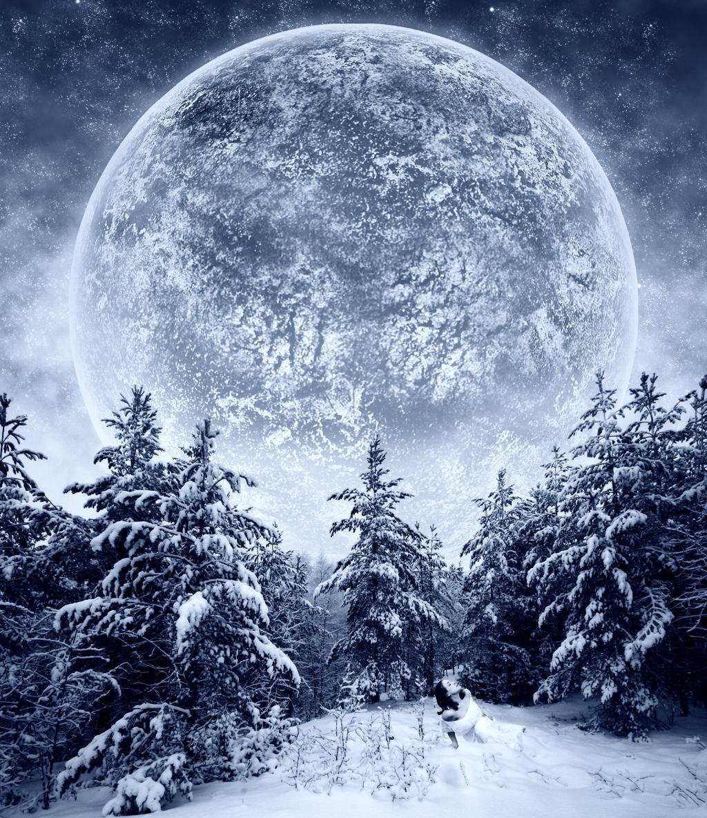 winter snow mountain moon - photo #34