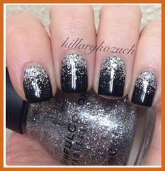 black nail polish with silver glitter by jkfangirl