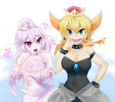 Bowsette and Booette by Croirei