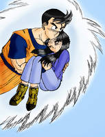 Mirai Gohan and Videl, colored by MissKisa