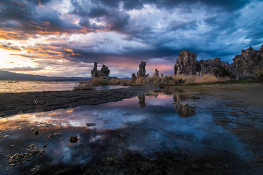 Moody Sunset reflection at Mono Lake