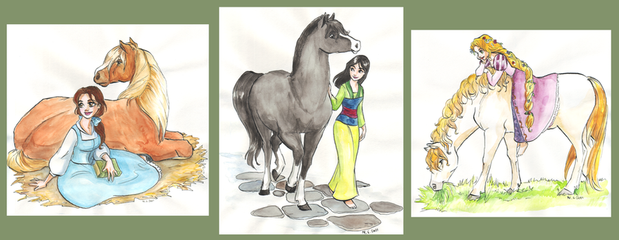 Disney girls and horses by TaijaVigilia