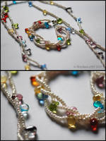 Multi drop necklace + bracelet