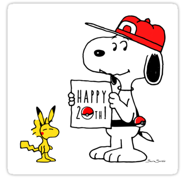 Snoopy and Woodstock celebrate Pokemon's 20th! by hamursh