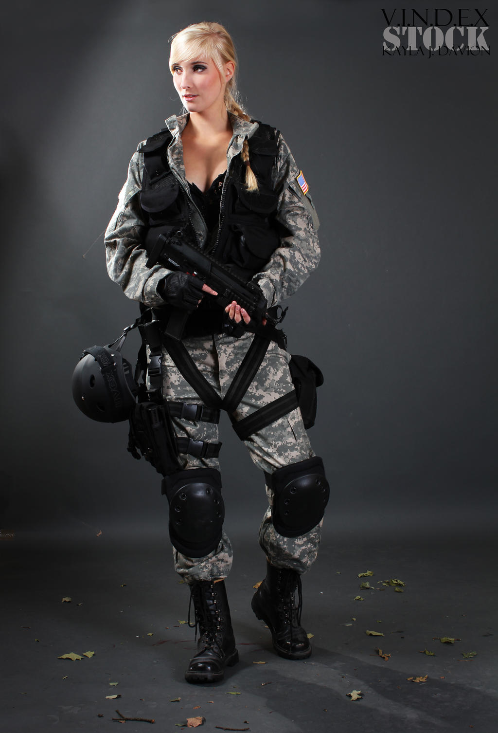 Female soldier that posing for hustler