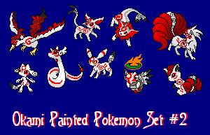 Okami Painted Pokemon Set 2 by DraconicNosferatu