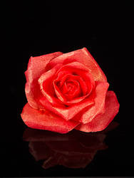 Wafer Paper Rose - Red Gold