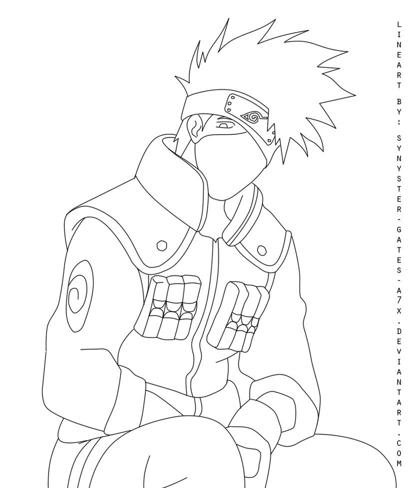 Lineart kakashi hatake by synyster gates a7x on deviantart for Kakashi coloring pages