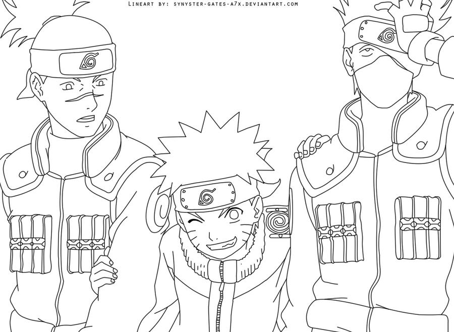 Kakashi iruka naruto lineart by synyster gates a7x on for Kakashi coloring pages