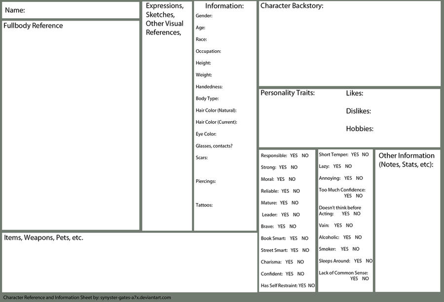 Character Design Ref Sheet : Character reference and information sheet blank by