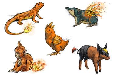 Realistic Pokemon Sketches: Fire Starters