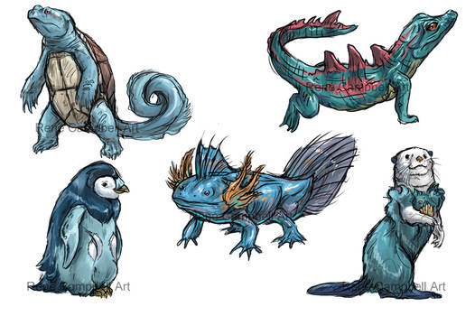 Realistic Pokemon Sketches: Water Starters
