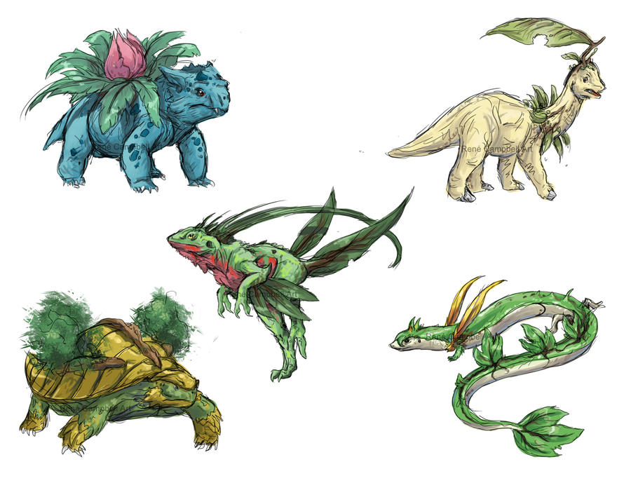 Imagenes , loles - Página 20 Realistic_pokemon_sketches__grass_2nd_evolutions_by_nauvasca-d5ivxhb