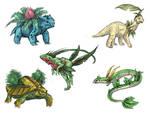 Realistic Pokemon Sketches: Grass 2nd Evolutions